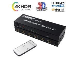 2x4 HDMI Splitter HDMI Switch Splitter 4 Out 2 in WERLEO 2 in 4 Out HDMI Splitter with SPDIF Audio 3.5mm Support HD 4K 3D 1080P