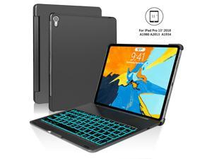 iPad Pro 11 Keyboard Case Werleo Aluminum Protective Ultra Slim Hard Shell Folio Stand Smart Cover with 7 Colors Backlit Wireless Bluetooth Keyboard for iPad Pro 11 inch 2018 Tablet