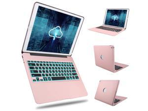 Bluetooth Keyboard Case iPad Pro 12.9 2017 (2nd Gen) / 2015(1st Gen) Protective Ultra Slim Aluminum Hard Shell Smart Cover with 7 Color Backlit Wireless Bluetooth Keyboard for Apple iPad Pro 12.9 inch