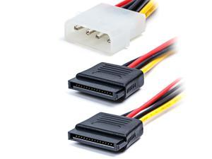 Werleo 4 pack 6-Inch / 15CM 4 pin Molex to 15 pin SATA Power Splitter Cable Adapter for Hard Drive HDD SSD