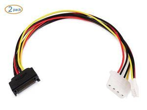 2pcs SATA 15 Pin Male to Dual 4 Pin Molex Female Splitter Power Cable 8 Inch SATA 15 Pin Male to 4 Pin Power Cable