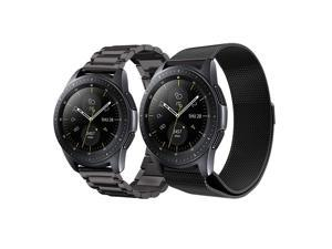 Werleo Compatible Galaxy Watch 46mm Bands / Gear S3 Frontier / Classic Bands Set 2 Pack Stainless Steel Metal + Milanese Loop Mesh Strap Replacement Ticwatch Pro Galaxy Watch 46mm Smartwatch