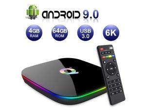 2019 Q Plus Android 9.0 TV Box 4GB RAM 64GB ROM H6 Quad-core Mali-T720MP2 WiFi 2.4GHz Support 6K H.265 HDMI 2.0 Ethernet RJ-45