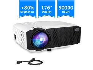 WERLEO Projector Video Mini Portable Projector, 2400 Lumens 176'' Display Portable LED Projector, Multimedia Home Theater Video Projector with HDMI Cable Support HD 1080P HDMI/VGA/AV/USB/TV Box/PS