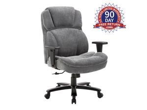 CLATINA Ergonomic Big & Tall Executive Office Chair with Upholstered Swivel 400lbs High Capacity Adjustable Height Thick Padding Headrest and Armrest for Home BIFMA Certified