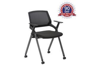 CLATINA Mesh Guest Reception Stack Chairs with Caster Wheels and Arms for Office School Church Conference Waiting Room BIFMA Certified Black