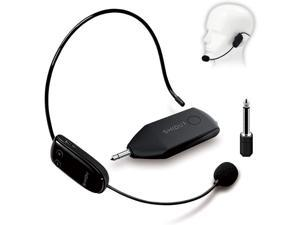 Wireless Microphone Headset UHF External Mic Rechargeable Transmitter with Receiver Headset and Handheld 2 in 1 for Voice Amplifier Pa system Stage Speaker Mixer
