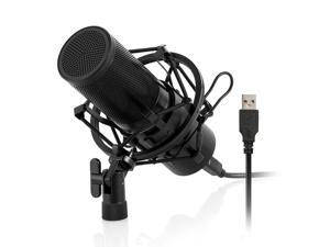 Professional Studio Condenser Microphone Computer PC Microphone Kit with Shock Mount USB Cable for PC Studio Recording Podcasting Youtube Karaoke