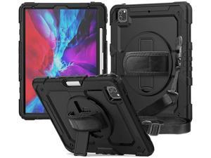 iPad Pro 12.9 Case 2020 [Support Apple Pencil Wireless Attaching and Charging] Heavy Duty Shockproof Rugged Protective Cover with Hand / Shoulder Strap for iPad Pro 12.9 inch 2020 4th Generation