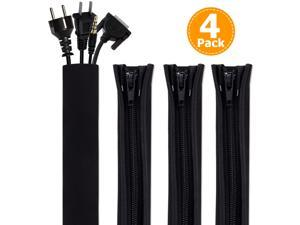 Cord Organizer System Cable Management Sleeve, 19.5 inch, Wire Cover with Zipper, Cable Wrap, Cord Sleeves for TV, Computer, Office, Home Entertainment, 4 Pack