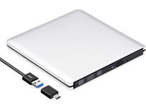 External CD DVD Drive USB 3.0 Type-C Slim Aluminum Portable DVD/CD ROM +/-RW Optical Drive Burner Writer for MacBook Pro/ Air, iMac, Windows/ Linux/ Mac Laptop Desktop, Silver