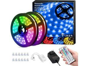 50ft LED Strip Lights, Ultra-Long RGB 5050 LED Strips with Remote Controller and Fixing Clips, Color Changing Tape Light with 12V ETL Listed Adapter for Bedroom, Room, Kitchen, Bar