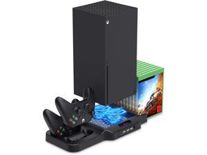 Vertical Stand with Cooling Fan for Xbox Series X / S, Charging Station Dock with Dual Controller Charger Ports, Game Storage and Cooler System for Xbox Series X / S