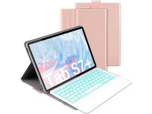 Bluetooth Backlit Keyboard Case for Samsung Galaxy Tab S7 Plus 12.4 inch 2020 Model SM-T970 SM-T975 SM-T976 Wireless Detachabe Keyboard Cover with 7 Color Backlights and Pencil Holder