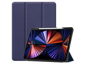 iPad Pro 12.9 inch Case 2021 5th Generation with Pencil Holder, Slim Lightweight Trifold Stand Cover -- Pencil Charging + Auto Sleep/Wake -- Soft TPU Back Cover for New iPad Pro 12.9 2021