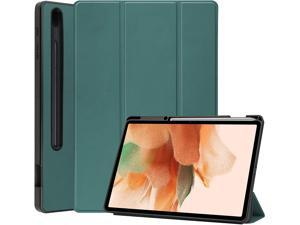 Trifold Stand Case for Samsung Galaxy Tab S7 FE / S7 Lite 12.4 Inch 2021 Model: SM-T730 SM-T736B with Auto Sleep/Wake and S Pen Holder