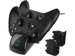 For Xbox One Controller Dual Charger Controller Charging Stand Elite Controller Charging Station High Speed Docking for Xbox One / One S / One X with 2 Rechargeable Battery Packs