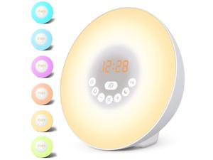 Sunrise Alarm Clock, Wake Up Light LED Digital Clock for Bedrooms with Touch Control 7 Colors Light, 6 Natural Sounds, FM Radio and Snooze/Sunset Simulation