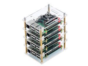 Raspberry Pi Cluster Case, Raspberry Pi Case with Cooling Fan and Raspberry Pi Heatsink for Raspberry Pi 3 Model B+, Pi 3 B, Pi 2 B, Pi B+ (4-Layers)