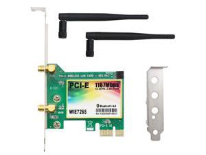 1167Mbps PCI-e Wireless Network Card, Dual Band 2.4GHz/5GHz Bluetooth 4.2 WLAN WiFi Adapter for PC Desktop, Supports Windows XP, Win 7,Win 8,Win 8.1,Win 10