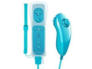 WR02 Wii Remote Plus and Nunchuck Controller with Silicone Case and Wrist Strap- Black(3rd-Party Product)