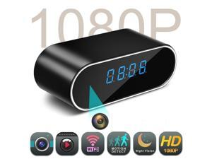 WiFi Hidden Camera Clock Hidden Spy Clock Camera Night Vision Nanny Cam Mini Alarm Clock DVR With Motion Detection for Home Security Surveillance Apps for iOS Android PC Mac