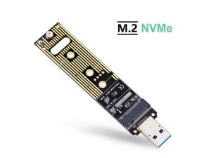 NVME to USB Adapter, M.2 SSD to Type-A Card (No Cable Need), High Performance 10 Gbps USB 3.1 Gen 2 Bridge Chip, Use as Portable SSD, USB to M2 SSD Key M, Support Windows XP / 7/8 / 10, MAC OS