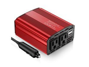 300W Car Power Inverter DC 12V to AC 110V Converter with 4.2A Dual USB Ports Car Adapter and 2 AC Outlets for Smartphones Tablet Laptop Breast pump Nebulizer and More