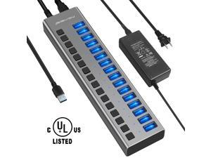 Powered USB Hub - 16 Ports 90W USB 3.0 Data Hub - with Individual On/Off Switches and 12V/7.5A Power Adapter USB Hub 3.0 Splitter for Laptop, PC, Computer, Mobile HDD, Flash Drive and More