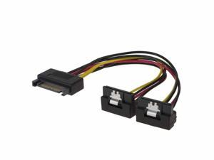 SATA Power Cable, CableCreation [2-Pack] 6-Inch SATA 15 Pin Male to 2x SATA 15 Pin Down Angle Female Power Splitter Cable