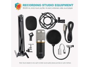 Condenser Microphone XLR to 3.5mm Podcasting Studio Recording Condenser Microphone Kit Computer Mics with Adjustable Mic Suspension Scissor Arm Metal Shock Mount Double-layer Pop Filter Silver