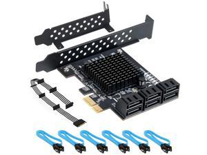 WERLEO PCIe SATA Card 6 Port with 6 SATA Cables and a SATA Power Splitter Cable, 6 Gb/s PCIe SATA Controller Expression Card with Low Profile Bracket, Boot as System Disk Support 6 SATA 3.0 Devices