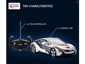 BMW I8 with interior light. Radio controlled car for children age from 7 years old. Rastar Brand.