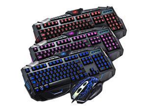 V100 Gaming Keyboard Tri-Color Backlit Multimedia Burst Wired Mouse Keyboard Set Black Abs