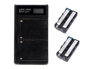 2 Pcs Np-F550 Battery And Lcd Dual Battery Usb Charger For Sony Np-F550 Battery,Compatible With Sony Np-F330,F550,F570 And Son