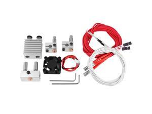 Hot-0.4Mm 1.75Mm Filament Two Into Two Out Extruder Kit Heating Block Nozzle Fan