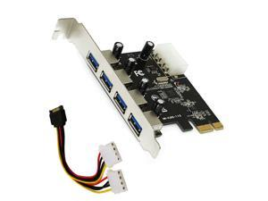 4 Port PCIE To USB 3.0 Expansion Card PCI Express Adapter Pcie Card 4-Port USB 3.0 With 15 Pin Sata Power Connector Cable