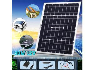 Solar Panel 12V 30W USB Monocrystalline Solar Panel with Car Charger for Outdoor Camping Emergency Light Waterproof