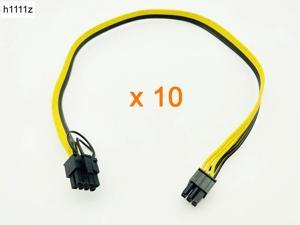 10PCS 50CM Riser Cable 6Pin to 8Pin (6+2) Power Cable Conversion Board Graphics Card Power Supply 18AWG Splitter for BTC Mining