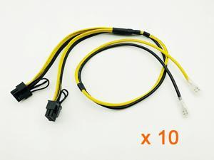 10PCS Power Cable PCIE Video Card Dual 8Pin (6+2) Splitter Power Supply Cord Wire with Terminal 12AWG+16AWG for BTC Miner Mining