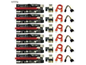 6pcs Dual LED VER009S PCI-E Riser Card 009S PCI Express 1X to 16X 0.6M USB 3.0 Cable 6Pin Molex Power for Bitcoin Miner Mining