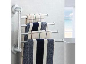 Stainless Steel Towel Rack Rotating Towel Bar Bathroom   Hanging Towel Polishing Bracket Bracket Home Hotel Bathroom Supplies