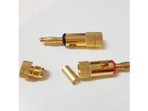 100pcs Gold Plated 2mm PIN Angled Banana Plugs 24K Pure Copper Banana Speaker Plug Audio Connector 5 Pairs Red+Black