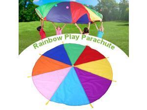 Kids Outdoor Comprehensive Outreach Training Play Parachute with Handles Team Game Development Training Rainbow Parachute