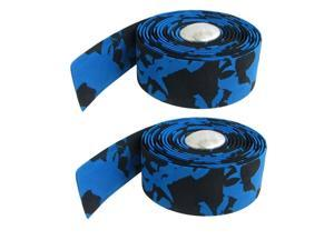 2 Pcs Silver Tone Bar Plugs Blue Black Bicycles Handlebar Tape Wrap
