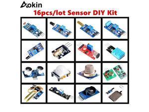 16pcs/lot Sensor Module Board Set Kit For Arduino starter Diy Kit Raspberry Pi 3/2 Model B 16 Rain Temperature tracing Sensor