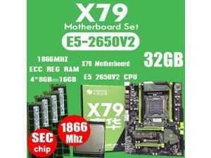 HUANANZHI X79 motherboard LGA2011 ATX combos E5 2650 V2 CPU  4pcs x 8GB = 32GB DDR3 RAM 1866Mhz PC3 1490R  PCI-E NVME M.2 SSD