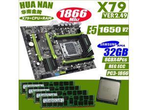 HUANANZHI golden V2.49 X79motherboard LGA2011 ATX combos E5 1650 v2  Without heat sink memory  USB3.0 SATA3 (4pcs x8GB )32G 1866