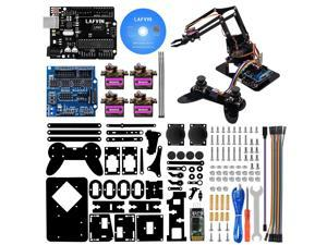 LAFVIN 4DOF Acrylic Toys Robot Mechanical Arm Claw Kit for Arduino UNO R3 DIY Robot with CD Tutorial