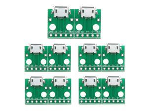 10Pcs Micro USB to DIP Adapter Card 5pin Female Connector B Type PCB Converter Board Pinboard for Computer PC Green